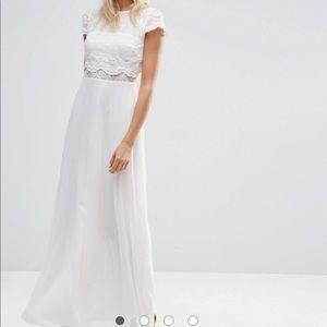 ASOS Crop Top Lace Maxi Dress, Size 12
